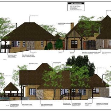 Bush game lodge design elevations