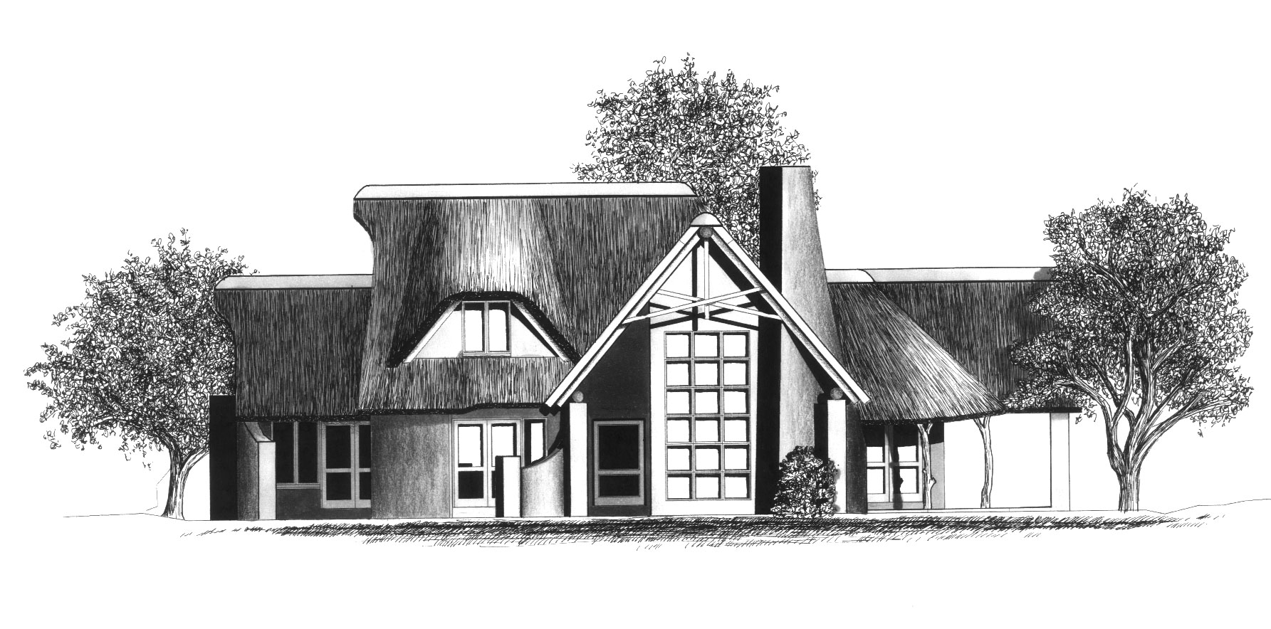 House plans and design modern house plans botswana for Thatched house plans